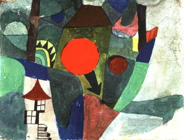 Klee Oil Painting - With the Setting Sun Paul Klee