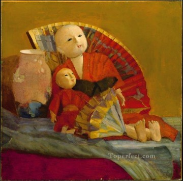 Peel Art Painting - Japanese Dolls and Fan academic painter Paul Peel