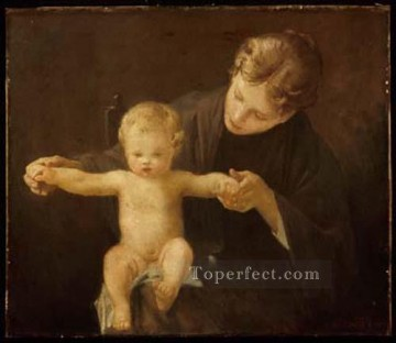 the Canvas - Mother and Child 1888 academic painter Paul Peel