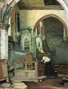 Devotion academic painter Paul Peel Oil Paintings