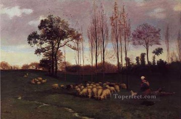Return Art - Return of the Flock 1883 academic painter Paul Peel
