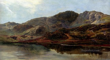 Lake Oil Painting - Landscape With A Lake And Mountains Beyond Sidney Richard Percy