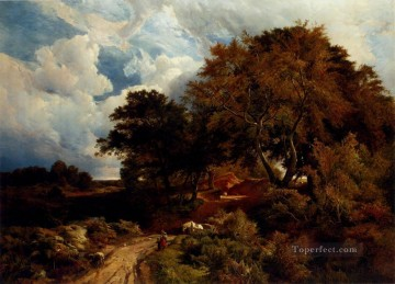 Sidney Richard Percy Painting - the Road Across The Common Sidney Richard Percy