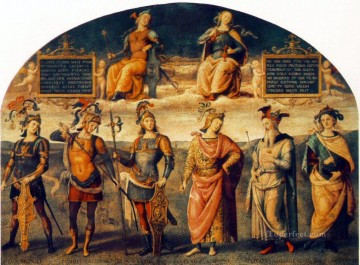 hero beijing opera jacky chen Painting - Fortitude and Temperance with Six Antique Heroes 1497 Renaissance Pietro Perugino
