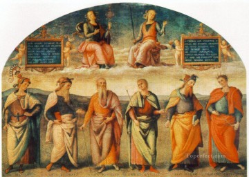 Prudence and Justice with Six Antique Wisemen 1497 Renaissance Pietro Perugino Oil Paintings