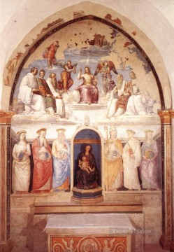 renaissance Painting - Trinity and Six Saints 1521 Renaissance Pietro Perugino