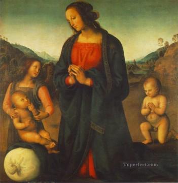 madonna Painting - Madonna an Angel and Little St John Adoring the Child Madonna del sacco 149515 Renaissance Pietro Perugino