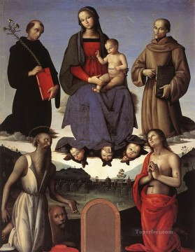 Altarpiece Painting - Madonna and Child with Four Saints Tezi Altarpiece 1500 Renaissance Pietro Perugino