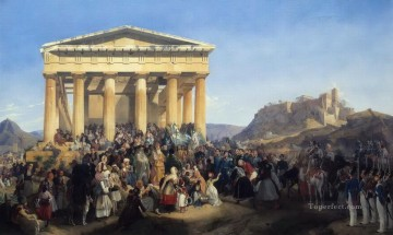 Entry Painting - The Entry of King Othon of Greece in Athens Peter von Hess historic war