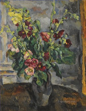 life - STILL LIFE WITH HOLLYHOCKS Petr Petrovich Konchalovsky