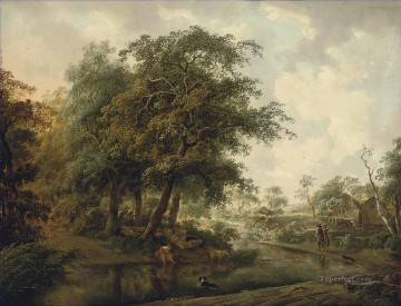 Artworks by 350 Famous Artists Painting - A wooded river landscape with travellers on a track a shepherdess and her flock on a bank Philip Reinagle