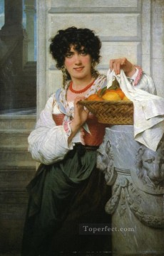 Lemons Art - pisan girl with basket of oranges and lemons Academic Classicism Pierre Auguste Cot