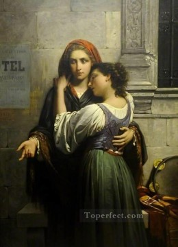 Pierre Auguste Cot Painting - the beggar girls Academic Classicism Pierre Auguste Cot