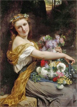 Pierre Auguste Cot Painting - Dionysia Mulheres Flores Academic Classicism Pierre Auguste Cot