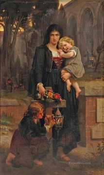 Pierre Auguste Cot Painting - Mother with her two children at the grave of the father Academic Classicism Pierre Auguste Cot