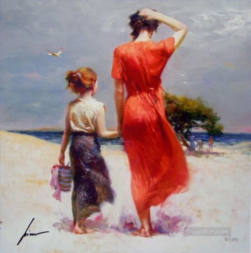 Afternoon Stroll lady painter Pino Daeni Decor Art