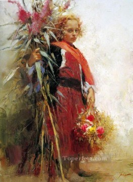 Flower Child lady painter Pino Daeni Oil Paintings