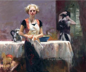 Pino Canvas - In the Late Evening lady painter Pino Daeni