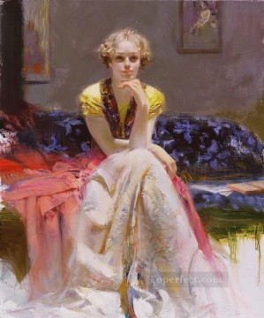 Daeni Art Painting - Original 2 lady painter Pino Daeni