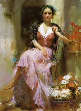 Daeni Painting - Pino Daeni lady and flowers