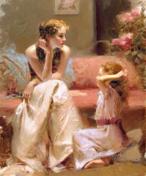 Pino Canvas - Thinking of You lady painter Pino Daeni
