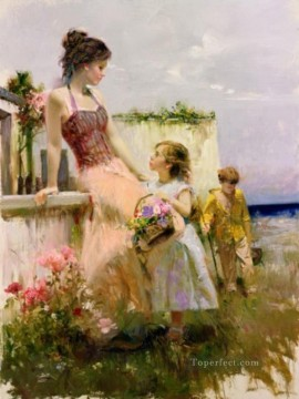 Pino Daeni Painting - Pino Daeni Basket of Love