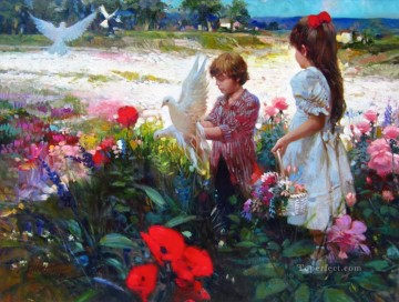 Pino Daeni Golden Days Oil Paintings