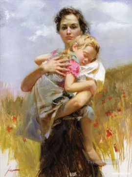Daeni Painting - Pino Daeni woman and girl