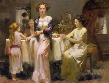 Pino Daeni Painting - The Gathering lady painter Pino Daeni