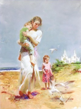 Pino Daeni mum and kids Oil Paintings