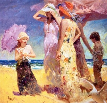Pino Daeni Painting - Umbrella Seaside Pino Daeni