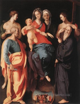 Madonna And Child With St Anne And Other saints portraitist Florentine Mannerism Pontormo Oil Paintings