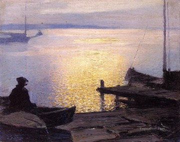 Henry Art Painting - Along the Mystic River Impressionist beach Edward Henry Potthast