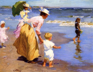 At the Beach Impressionist beach Edward Henry Potthast Oil Paintings