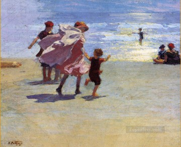 Brighton Beach Impressionist beach Edward Henry Potthast Oil Paintings