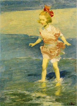 In the Surf Impressionist beach Edward Henry Potthast Oil Paintings
