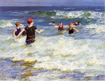 In the Surf2 Impressionist beach Edward Henry Potthast Oil Paintings