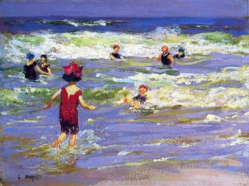 Bath Painting - Little Sea Bather Impressionist beach Edward Henry Potthast