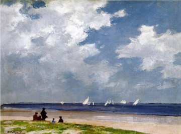 beach Art - Sailboats off Far Rockaway Impressionist beach Edward Henry Potthast