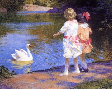 Edward Henry Potthast Painting - The Swan Impressionist beach Edward Henry Potthast
