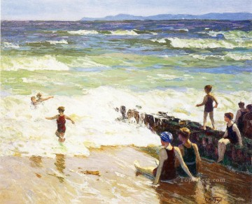 Bath Painting - Bathers by the Shore Impressionist beach Edward Henry Potthast