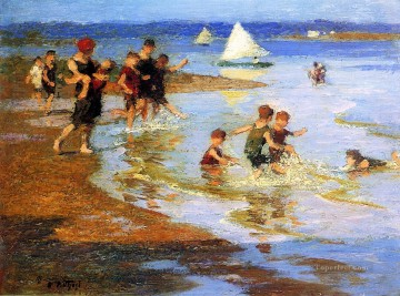 Children at Play on the Beach Impressionist Edward Henry Potthast