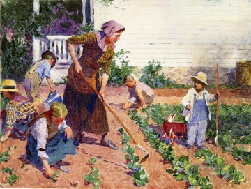 garden Oil Painting - In the Garden Impressionist Edward Henry Potthast