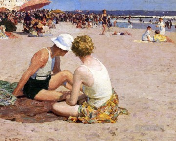 beach Art - A Summer Vacation Impressionist beach Edward Henry Potthast