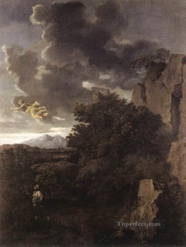 classical Canvas - Hagar and the Angel classical painter Nicolas Poussin