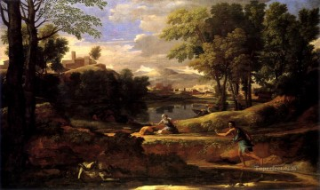 classical art - Landscape with man killed by snake classical painter Nicolas Poussin