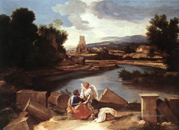 classical art - St Matthew and the angel classical painter Nicolas Poussin