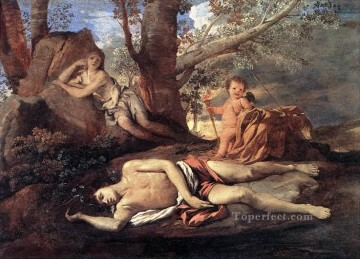 Narcissus Art - Echo Narcissus classical painter Nicolas Poussin