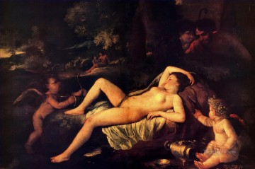 sleep Painting - Nicholas Sleeping Venus and Cupid classical painter Nicolas Poussin
