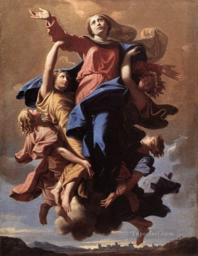 Virgin Painting - The Assumption of the Virgin classical painter Nicolas Poussin